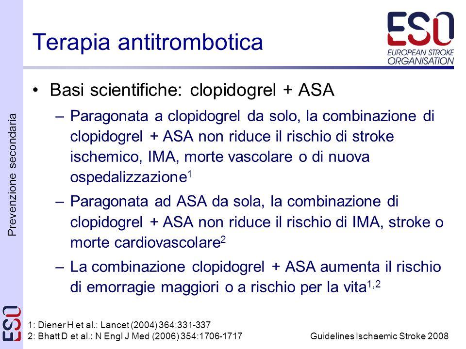 Prevenzione secondaria Guidelines Ischaemic Stroke 2008 Terapia antitrombotica Basi scientifiche: clopidogrel + ASA –Paragonata a clopidogrel da solo, la combinazione di clopidogrel + ASA non riduce il rischio di stroke ischemico, IMA, morte vascolare o di nuova ospedalizzazione 1 –Paragonata ad ASA da sola, la combinazione di clopidogrel + ASA non riduce il rischio di IMA, stroke o morte cardiovascolare 2 –La combinazione clopidogrel + ASA aumenta il rischio di emorragie maggiori o a rischio per la vita 1,2 1: Diener H et al.: Lancet (2004) 364:331-337 2: Bhatt D et al.: N Engl J Med (2006) 354:1706-1717