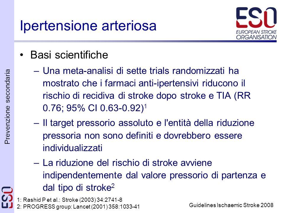 Prevenzione secondaria Guidelines Ischaemic Stroke 2008 Ipertensione arteriosa Basi scientifiche –Una meta-analisi di sette trials randomizzati ha mostrato che i farmaci anti-ipertensivi riducono il rischio di recidiva di stroke dopo stroke e TIA (RR 0.76; 95% CI 0.63-0.92) 1 –Il target pressorio assoluto e l entità della riduzione pressoria non sono definiti e dovrebbero essere individualizzati –La riduzione del rischio di stroke avviene indipendentemente dal valore pressorio di partenza e dal tipo di stroke 2 1: Rashid P et al.: Stroke (2003) 34:2741-8 2: PROGRESS group: Lancet (2001) 358:1033-41