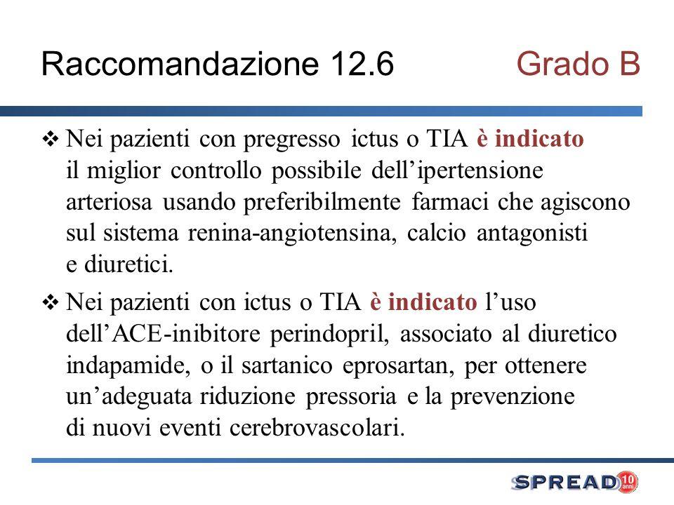 Raccomandazione 12.6 Grado B Nei pazienti con pregresso ictus o TIA è indicato il miglior controllo possibile dellipertensione arteriosa usando preferibilmente farmaci che agiscono sul sistema renina-angiotensina, calcio antagonisti e diuretici.