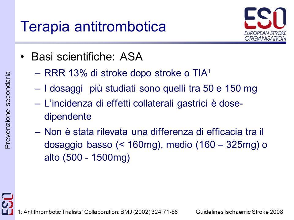 Prevenzione secondaria Guidelines Ischaemic Stroke 2008 Terapia antitrombotica Basi scientifiche: ASA –RRR 13% di stroke dopo stroke o TIA 1 –I dosaggi più studiati sono quelli tra 50 e 150 mg –Lincidenza di effetti collaterali gastrici è dose- dipendente –Non è stata rilevata una differenza di efficacia tra il dosaggio basso (< 160mg), medio (160 – 325mg) o alto (500 - 1500mg) 1: Antithrombotic Trialists Collaboration: BMJ (2002) 324:71-86