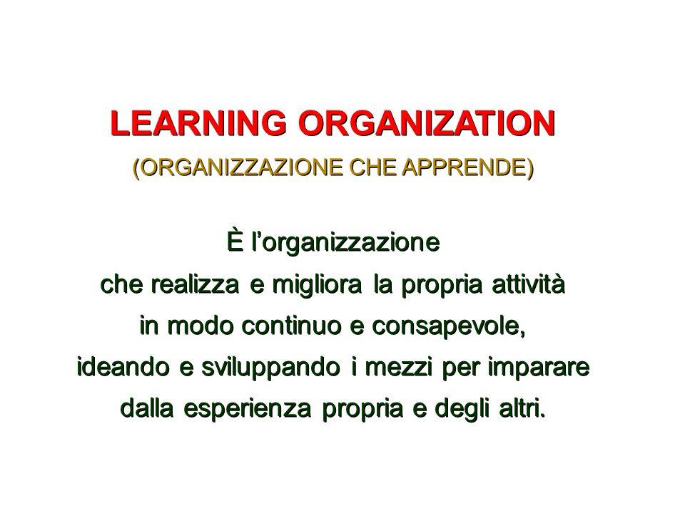 LEARNING ORGANIZATION (ORGANIZZAZIONE CHE APPRENDE) È lorganizzazione che realizza e migliora la propria attività in modo continuo e consapevole, idea