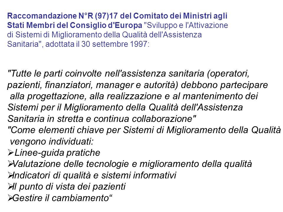 Raccomandazione N°R (97)17 del Comitato dei Ministri agli Stati Membri del Consiglio d'Europa