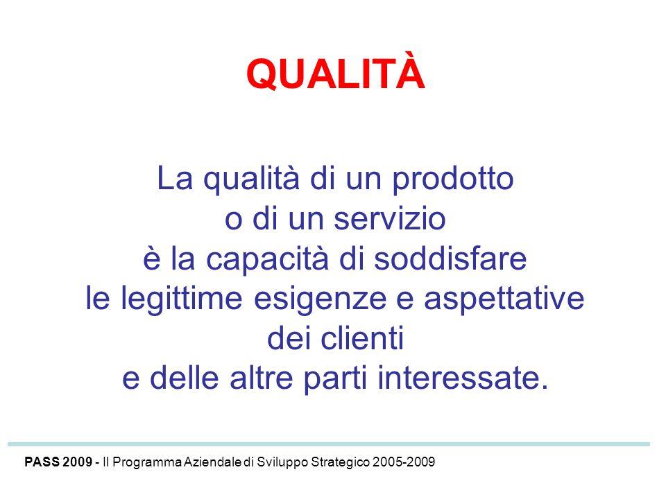 QUALITÀ La qualità di un prodotto o di un servizio è la capacità di soddisfare le legittime esigenze e aspettative dei clienti e delle altre parti int