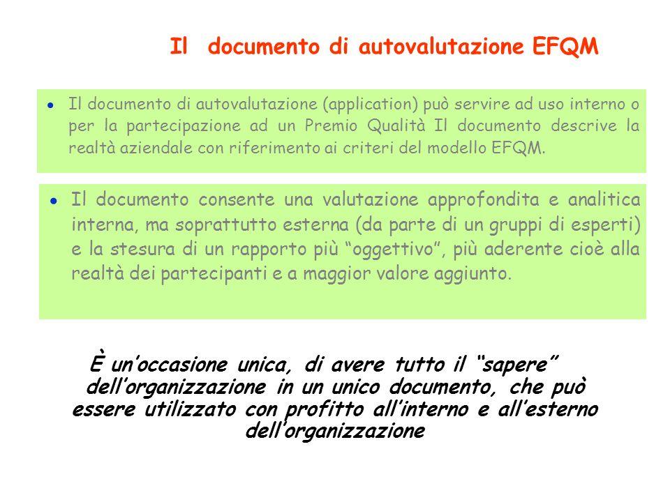 Il documento di autovalutazione (application) può servire ad uso interno o per la partecipazione ad un Premio Qualità Il documento descrive la realtà