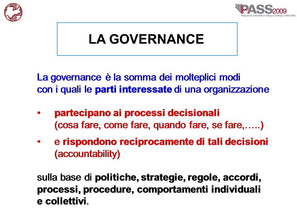 LA GOVERNANCE La governance è la somma dei molteplici modi con i quali le parti interessate di una organizzazione partecipano ai processi decisionali
