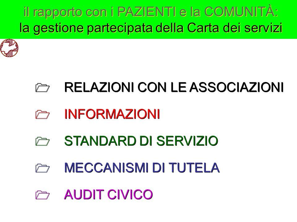il rapporto con i PAZIENTI e la COMUNITÀ: la gestione partecipata della Carta dei servizi il rapporto con i PAZIENTI e la COMUNITÀ: la gestione partec