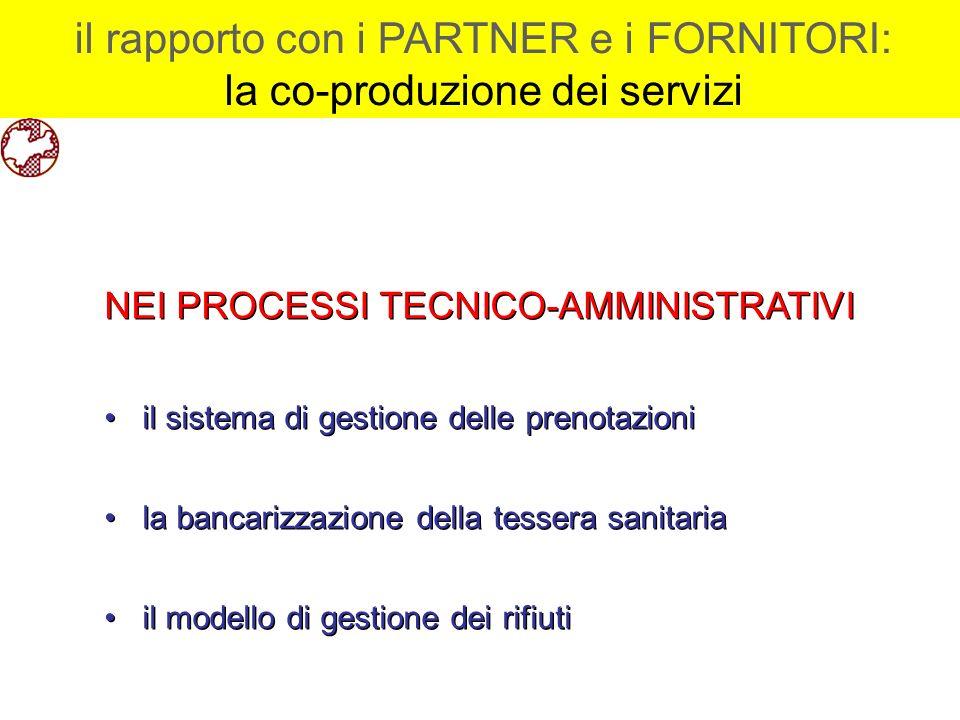 il rapporto con i PARTNER e i FORNITORI: la co-produzione dei servizi il rapporto con i PARTNER e i FORNITORI: la co-produzione dei servizi NEI PROCES