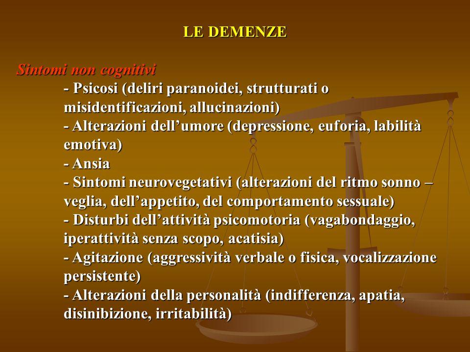 LE DEMENZE Sintomi cognitivi - Deficit della memoria - Disorientamento temporale e spaziale - Aprassia - Afasia, alessia, agrafia - Deficit di ragiona