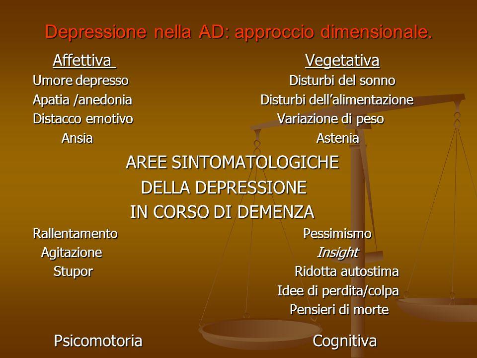 SINTOMI PSICHICI Depressione La depressione richiede un approccio diagnostico di tipo dimensionale, piuttosto che un tipo categoriale. La depressione