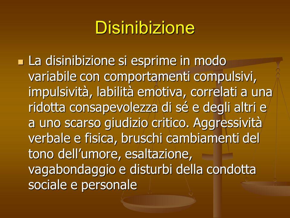 Disinibizione Il paziente agisce impulsivamente senza considerare le conseguenze. Esegue azione imbarazzanti per il caregiver o per altri. Il paziente