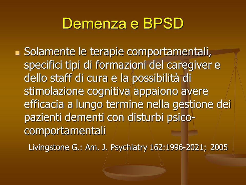 Demenza e BPSD Le terapie farmacologiche non sono particolarmente efficaci nella gestione dei BPSD. Gli antipsicotici atipici risperidone e olanzapina