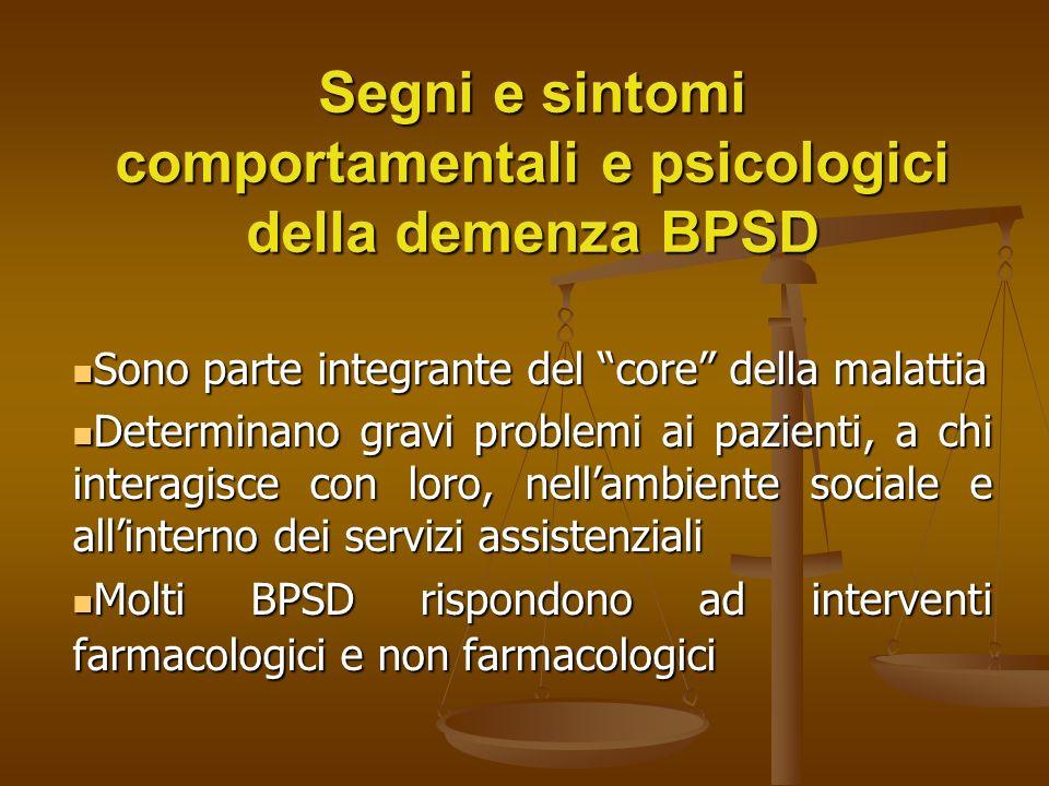 Demenza e BPSD Solamente le terapie comportamentali, specifici tipi di formazioni del caregiver e dello staff di cura e la possibilità di stimolazione