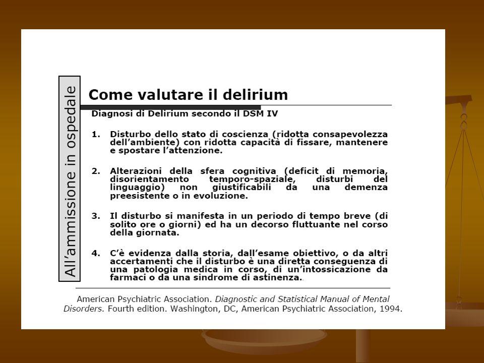 CONSEGUENZE DEL DELIRIUM Perdita dellautonomia Perdita dellautonomia Aumento della morbilità (decubiti, cadute, fratture di femore, malnutrizione, dis