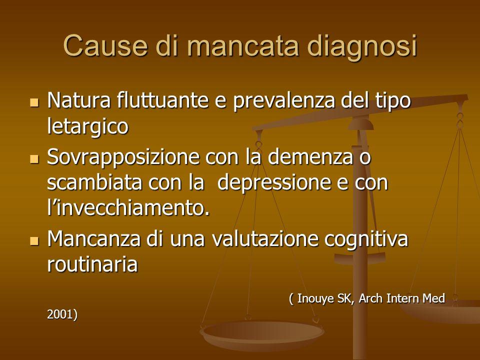 Classificazione Delirium iperattivo (25%): con aumento dellattività psicomotoria e prevalente agitazione (DD con stato ansio generico) Delirium iperat