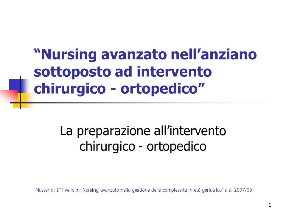 1 Nursing avanzato nellanziano sottoposto ad intervento chirurgico - ortopedico La preparazione allintervento chirurgico - ortopedico Master di 1° liv
