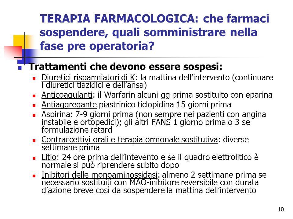 10 TERAPIA FARMACOLOGICA: che farmaci sospendere, quali somministrare nella fase pre operatoria? Trattamenti che devono essere sospesi: Diuretici risp