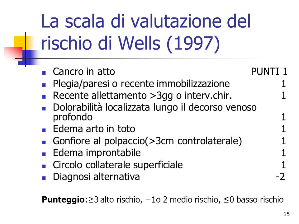 15 La scala di valutazione del rischio di Wells (1997) Cancro in attoPUNTI 1 Plegia/paresi o recente immobilizzazione1 Recente allettamento >3gg o int