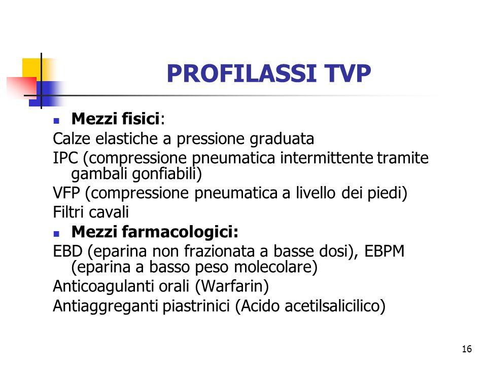 16 PROFILASSI TVP Mezzi fisici: Calze elastiche a pressione graduata IPC (compressione pneumatica intermittente tramite gambali gonfiabili) VFP (compr