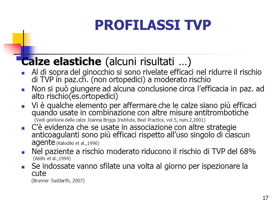 17 PROFILASSI TVP Calze elastiche (alcuni risultati …) Al di sopra del ginocchio si sono rivelate efficaci nel ridurre il rischio di TVP in paz.ch. (n