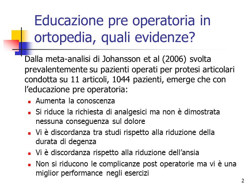 2 Educazione pre operatoria in ortopedia, quali evidenze? Dalla meta-analisi di Johansson et al (2006) svolta prevalentemente su pazienti operati per