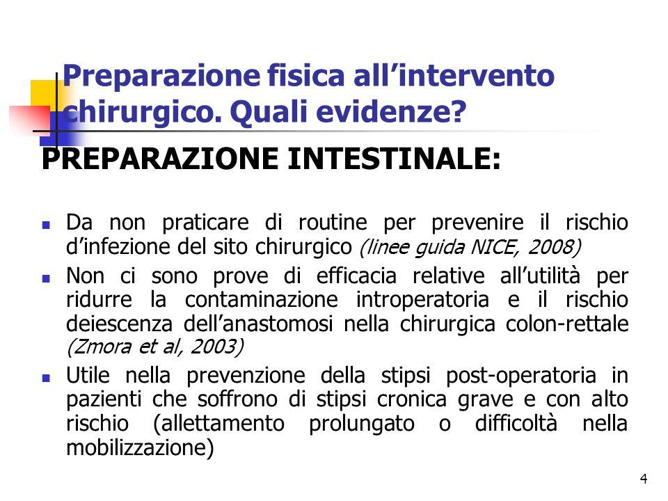 4 PREPARAZIONE INTESTINALE: Da non praticare di routine per prevenire il rischio dinfezione del sito chirurgico (linee guida NICE, 2008) Non ci sono p