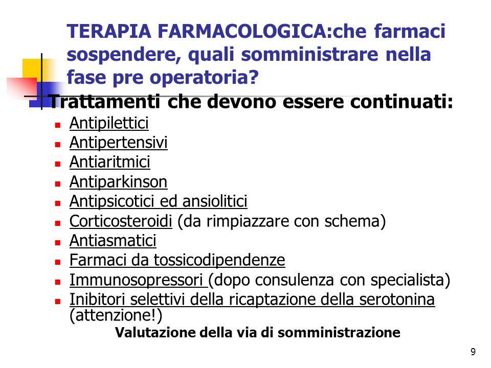 9 TERAPIA FARMACOLOGICA:che farmaci sospendere, quali somministrare nella fase pre operatoria? Trattamenti che devono essere continuati: Antipilettici