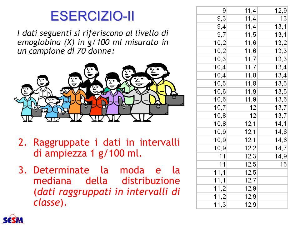ESERCIZIO-II I dati seguenti si riferiscono al livello di emoglobina (X) in g/100 ml misurato in un campione di 70 donne: 2.Raggruppate i dati in inte