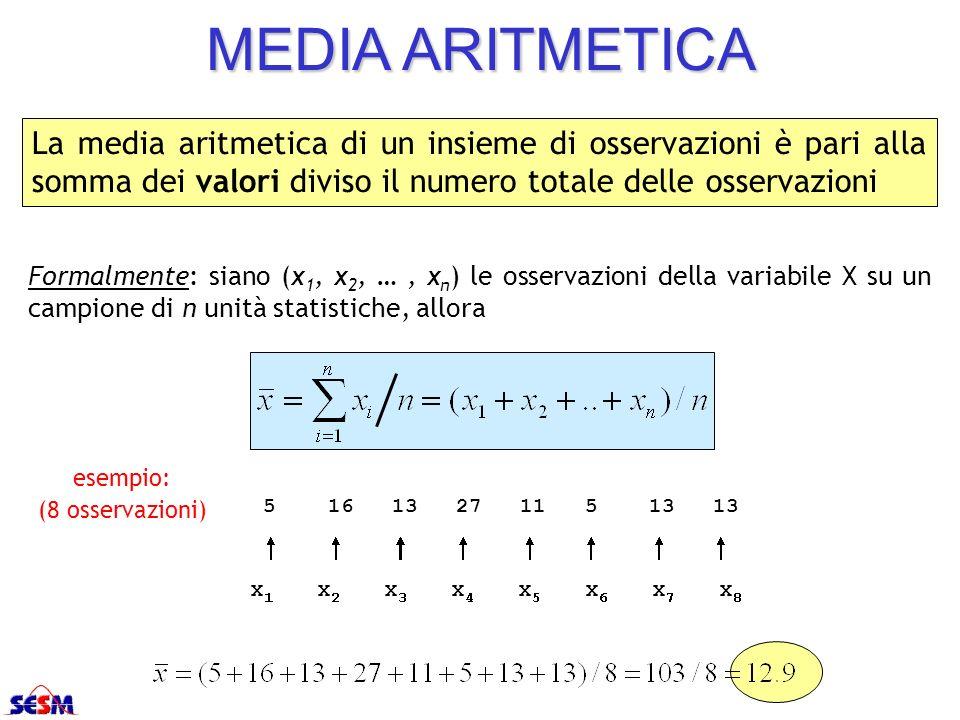 MEDIA ARITMETICA La media aritmetica di un insieme di osservazioni è pari alla somma dei valori diviso il numero totale delle osservazioni Formalmente