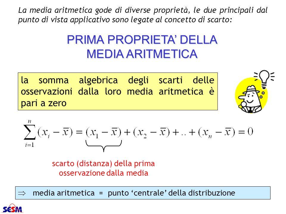 La media aritmetica gode di diverse proprietà, le due principali dal punto di vista applicativo sono legate al concetto di scarto: scarto (distanza) d