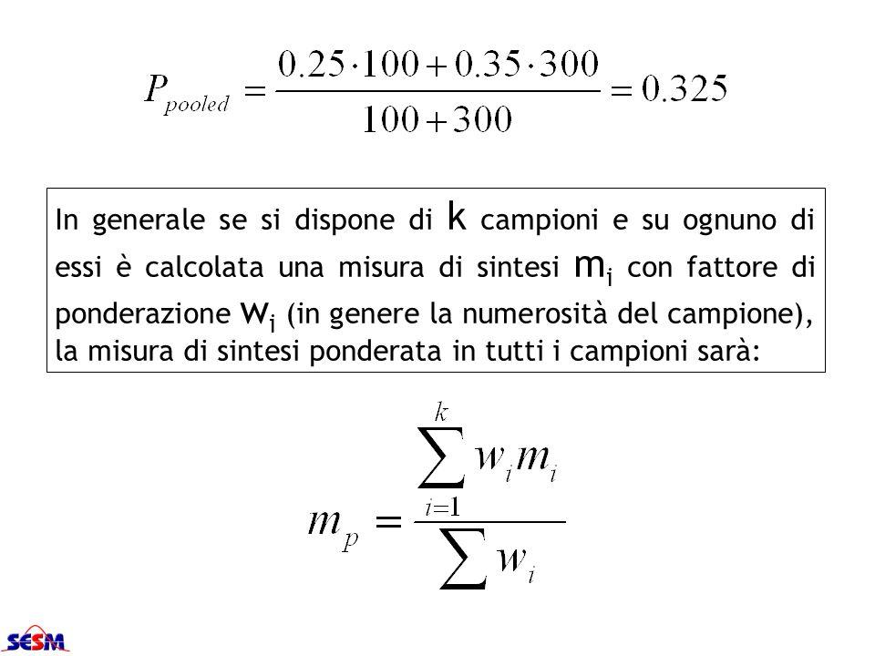 In generale se si dispone di k campioni e su ognuno di essi è calcolata una misura di sintesi m i con fattore di ponderazione w i (in genere la numero