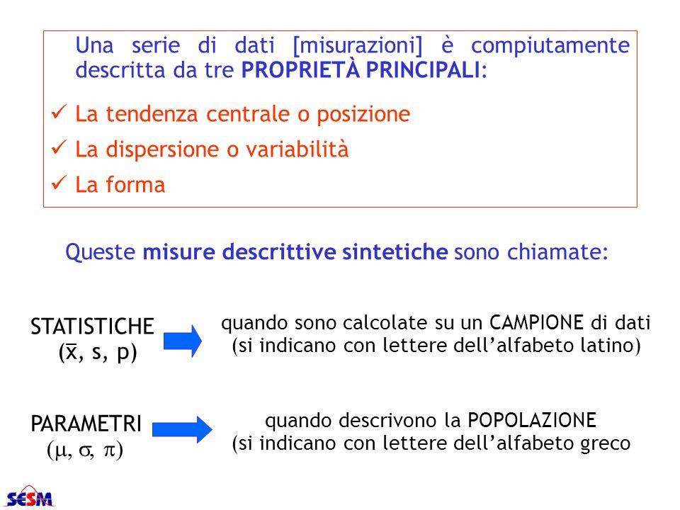 Una serie di dati [misurazioni] è compiutamente descritta da tre PROPRIETÀ PRINCIPALI: La tendenza centrale o posizione La dispersione o variabilità L