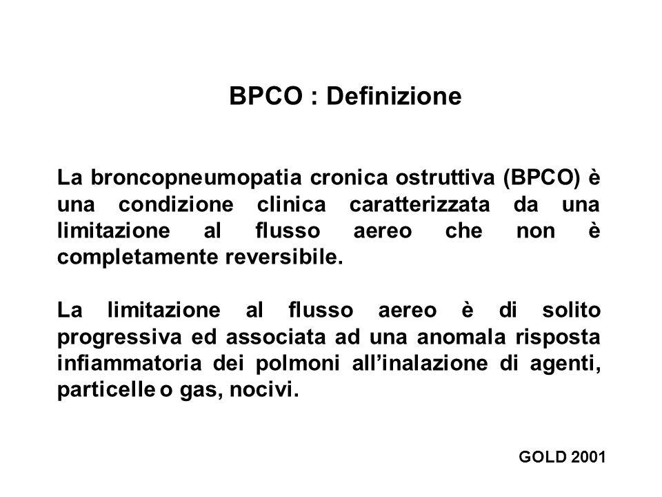 BPCO : Definizione La broncopneumopatia cronica ostruttiva (BPCO) è una condizione clinica caratterizzata da una limitazione al flusso aereo che non è
