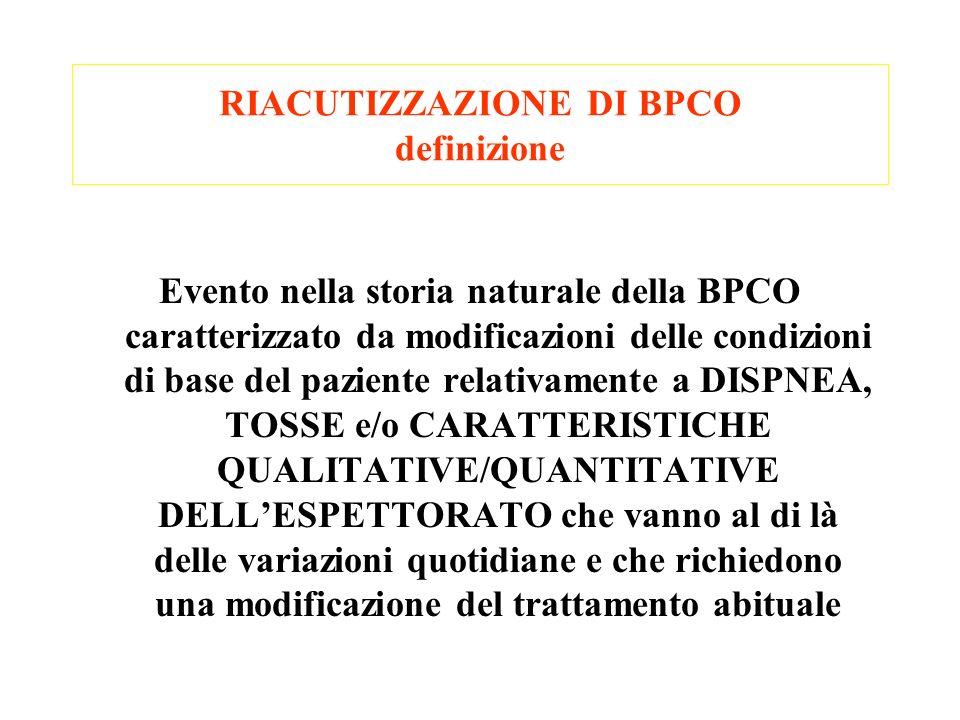 RIACUTIZZAZIONE DI BPCO definizione Evento nella storia naturale della BPCO caratterizzato da modificazioni delle condizioni di base del paziente rela