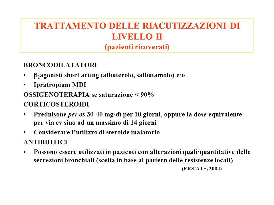 TRATTAMENTO DELLE RIACUTIZZAZIONI DI LIVELLO II (pazienti ricoverati) BRONCODILATATORI 2 agonisti short acting (albuterolo, salbutamolo) e/o Ipratropi