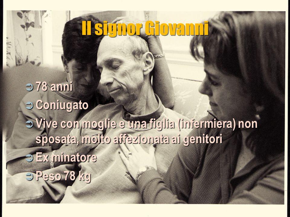 Il signor Giovanni 78 anni 78 anni Coniugato Coniugato Vive con moglie e una figlia (infermiera) non sposata, molto affezionata ai genitori Vive con m