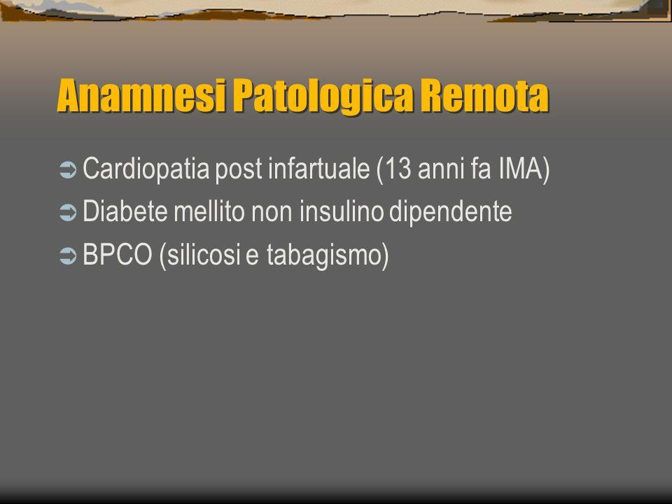 Anamnesi Patologica Remota Cardiopatia post infartuale (13 anni fa IMA) Diabete mellito non insulino dipendente BPCO (silicosi e tabagismo)