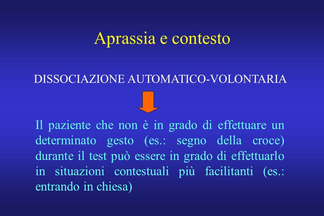 Aprassia e contesto Il paziente che non è in grado di effettuare un determinato gesto (es.: segno della croce) durante il test può essere in grado di