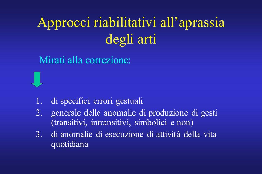 Approcci riabilitativi allaprassia degli arti 1.di specifici errori gestuali 2.generale delle anomalie di produzione di gesti (transitivi, intransitiv