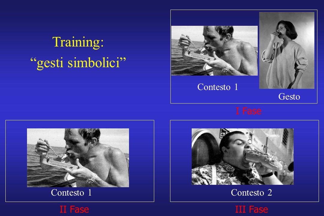 I Fase II FaseIII Fase Training: gesti simbolici Contesto 1 Gesto Contesto 1Contesto 2