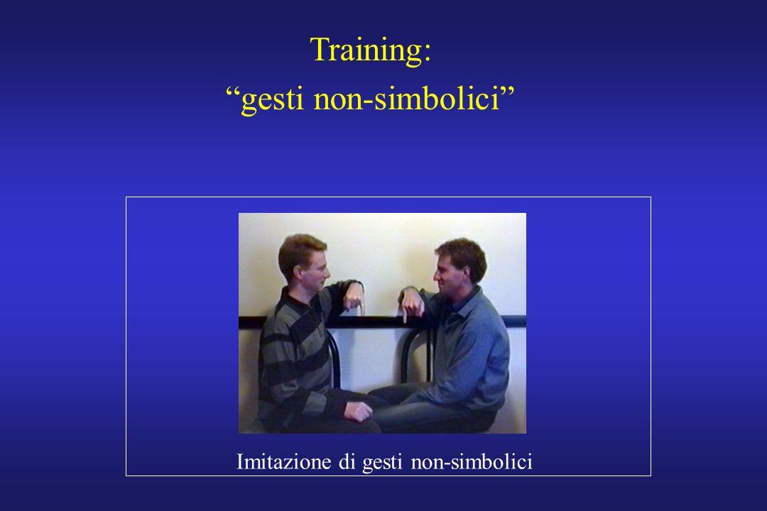 Training: gesti non-simbolici Imitazione di gesti non-simbolici