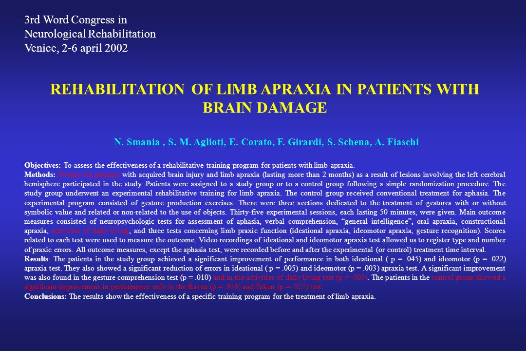 REHABILITATION OF LIMB APRAXIA IN PATIENTS WITH BRAIN DAMAGE N. Smania, S. M. Aglioti, E. Corato, F. Girardi, S. Schena, A. Fiaschi Objectives: To ass