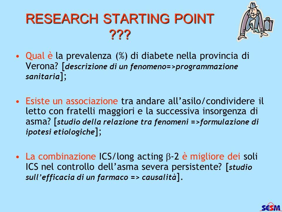 RESEARCH STARTING POINT ??? Qual è la prevalenza (%) di diabete nella provincia di Verona? [ descrizione di un fenomeno=>programmazione sanitaria ]; E
