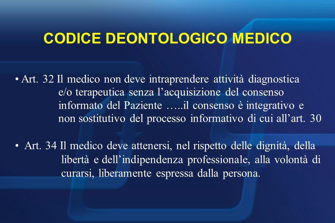 CODICE DEONTOLOGICO MEDICO Art.