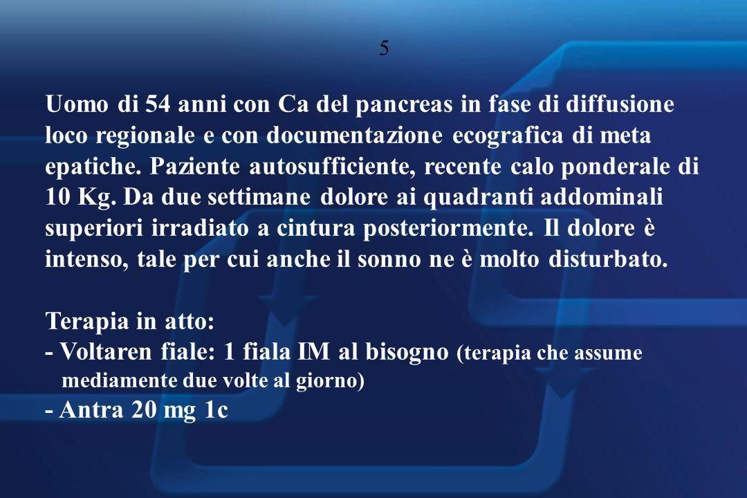 5 Uomo di 54 anni con Ca del pancreas in fase di diffusione loco regionale e con documentazione ecografica di meta epatiche.