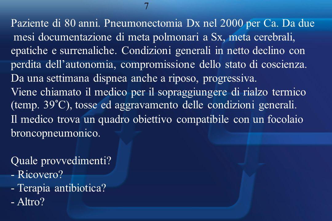 Paziente di 80 anni. Pneumonectomia Dx nel 2000 per Ca.