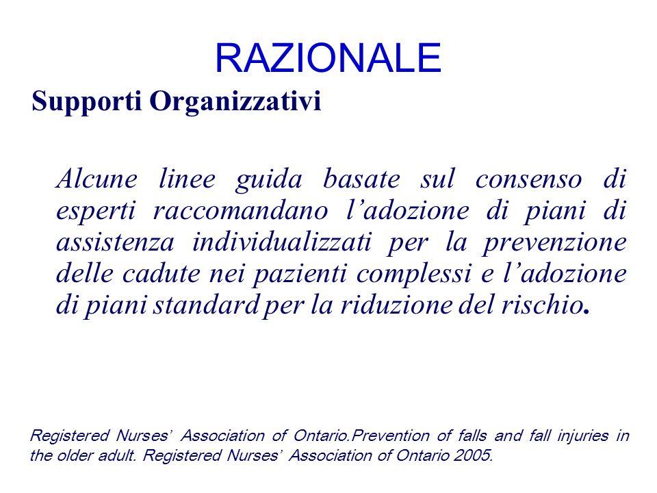 RAZIONALE Supporti Organizzativi Alcune linee guida basate sul consenso di esperti raccomandano ladozione di piani di assistenza individualizzati per