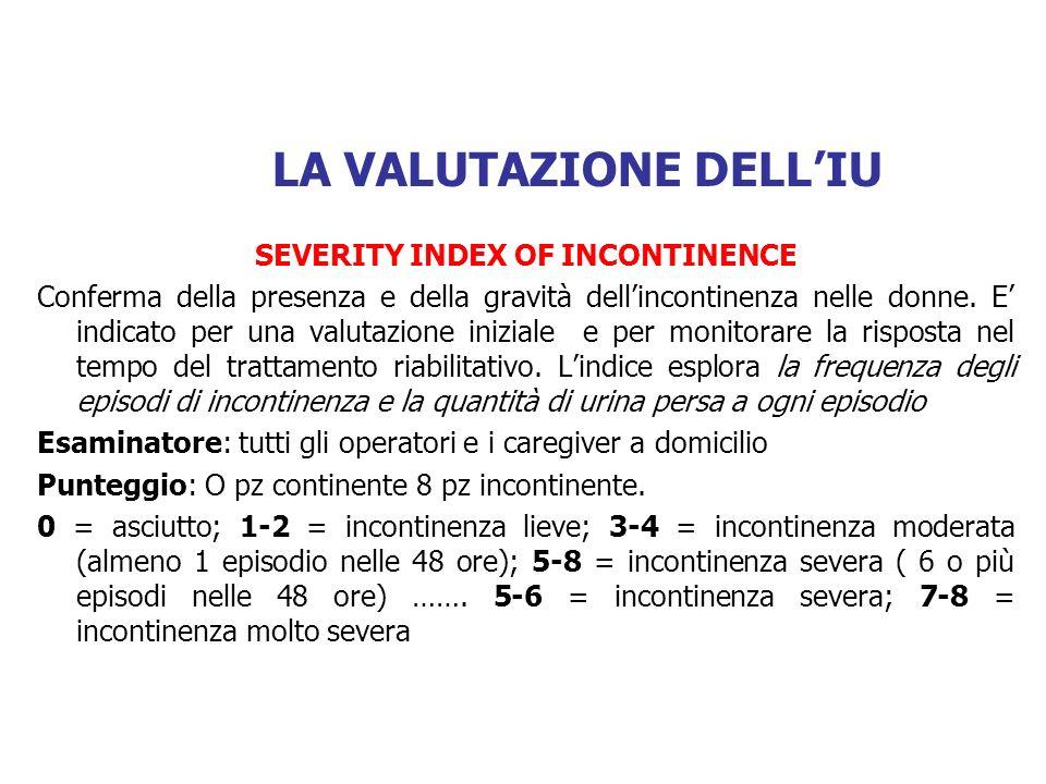 SEVERITY INDEX OF INCONTINENCE (pag 164) 1) QUANTE VOLTE LE E CAPITATO DI PERDERE URINA.