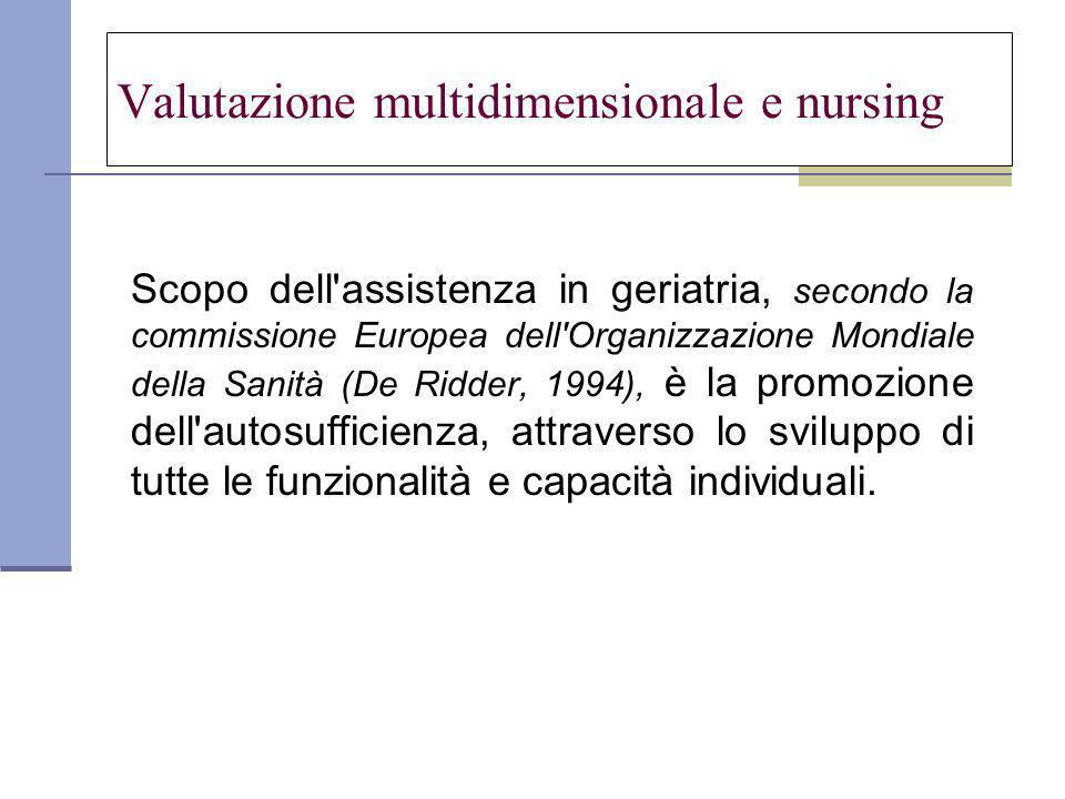 Valutazione multidimensionale e nursing Scopo dell assistenza in geriatria, secondo la commissione Europea dell Organizzazione Mondiale della Sanità (De Ridder, 1994), è la promozione dell autosufficienza, attraverso lo sviluppo di tutte le funzionalità e capacità individuali.