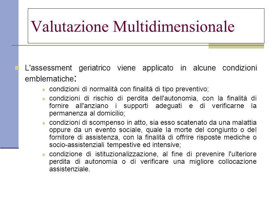 Valutazione Multidimensionale L'assessment geriatrico viene applicato in alcune condizioni emblematiche : condizioni di normalità con finalità di tipo