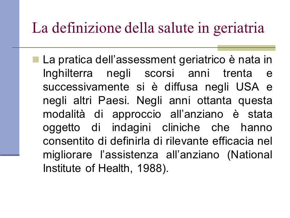 La definizione della salute in geriatria La pratica dellassessment geriatrico è nata in Inghilterra negli scorsi anni trenta e successivamente si è diffusa negli USA e negli altri Paesi.